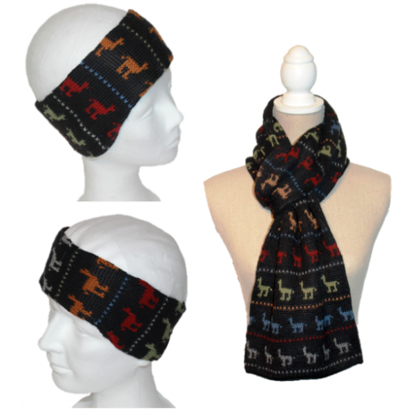 Alpaka Set Alpaquitas (Stirnband und Schal)