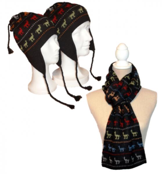 Alpaka Set Alpaquitas (Mütze und Schal)