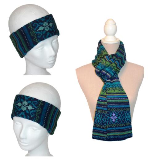Alpaka Set Tina (Stirnband und Schal)